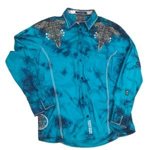 ROAR Embroidered Nero Crystal Wash Western Shirt